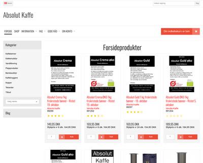 absolutkaffe.dk website
