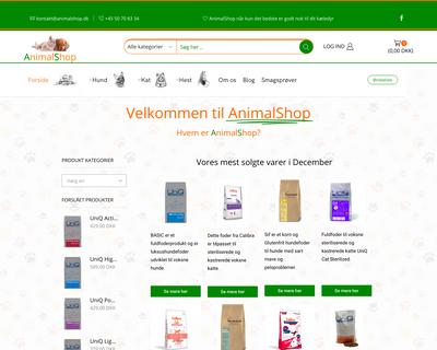 animalshop.dk website