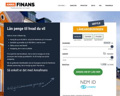 www.annafinans.dk website