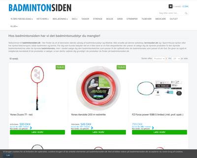 badmintonsiden.dk website