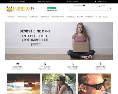 billigbrillen.dk website