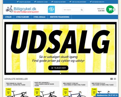 billigcykel.dk website