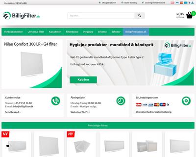 billigfilter.dk website