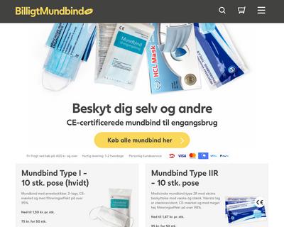 billigtmundbind.dk website