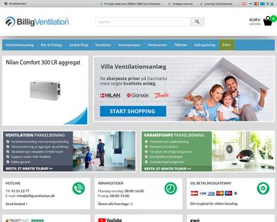 billigventilation.dk website