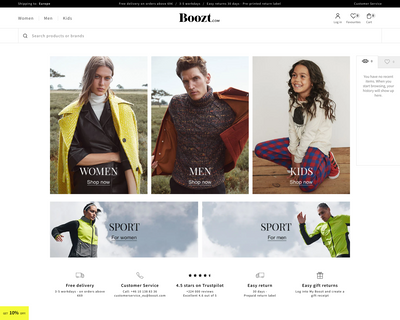 www.boozt.com website