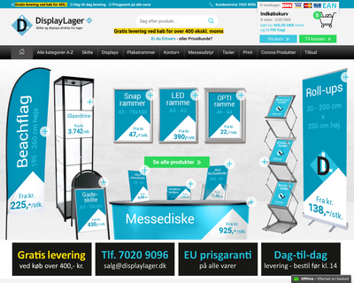 displaylager.dk website