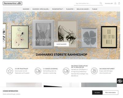 www.rammeshoppen.dk website
