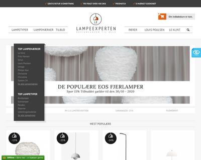 lampeexperten.dk website