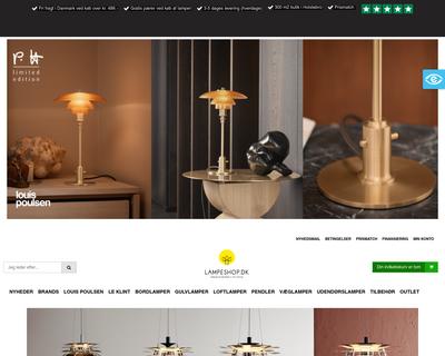 lampeshop.dk website