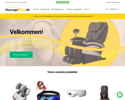 massageshop.dk website