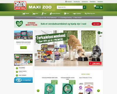 maxizoo.dk website