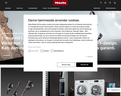miele.dk website