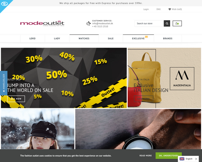 modeoutlet.dk website