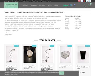 modernlamps.dk website