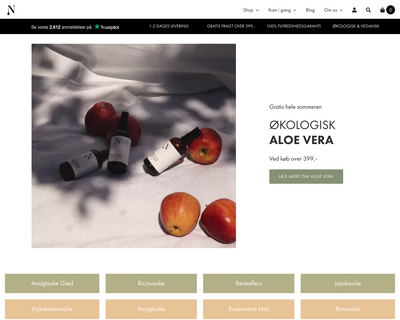 naturligolie.dk website