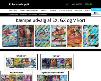 pokemonshop.dk website