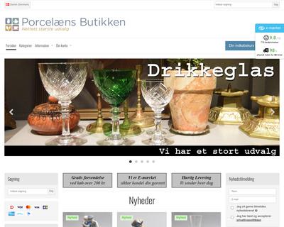 porcelaensbutikken.dk website