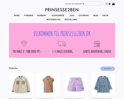 prinsesse2ben.dk website