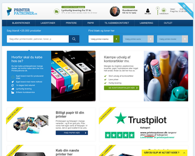 printerpatroner.dk website