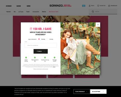 sarenza.dk website