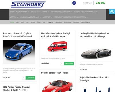 scanhobby-webshop.dk website