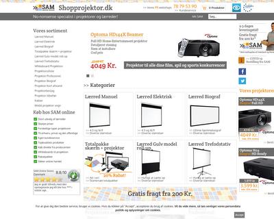 shopprojektor.dk website