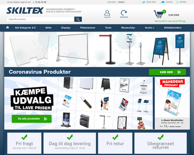 www.skiltex.dk website