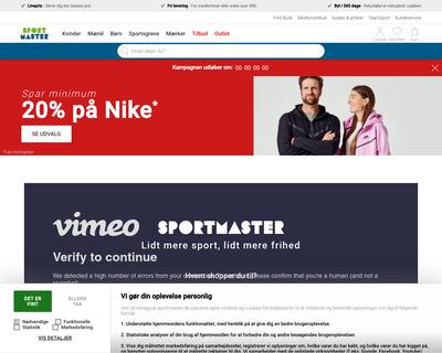 sportmaster.dk website