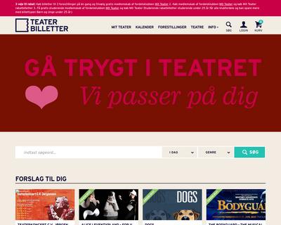 teaterbilletter.dk website